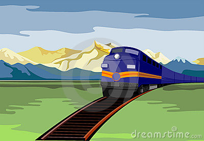 Train travelling with mountain