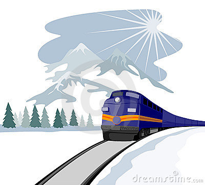 Train travelling during winter