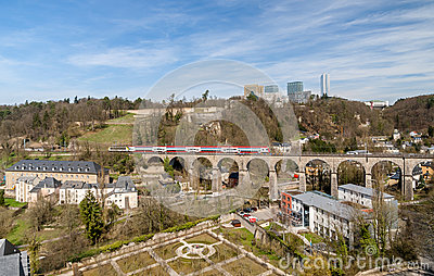 Train on viaduct in Luxembourg