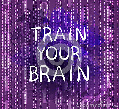 Free `Train Your Brain` Text On Purple Background With Numbers, VECTOR Hand Drawn Letters. Royalty Free Stock Images - 93945859