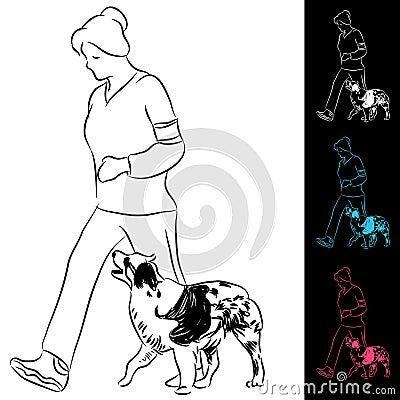 Trainer Walking Border Collie Dog