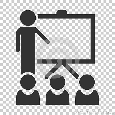 Training education icon in flat style. People seminar vector ill Vector Illustration