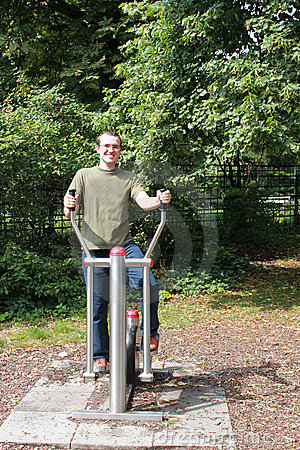 Training man in the park