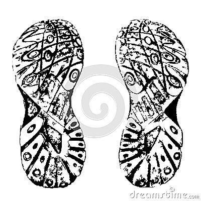 Training shoes prints