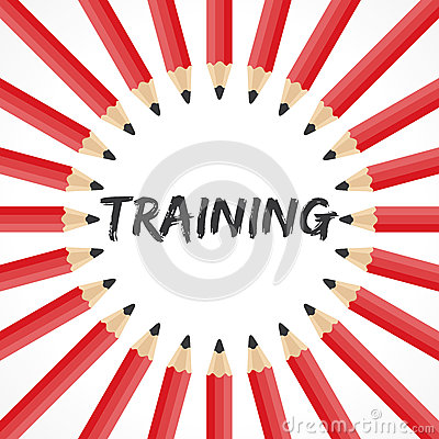 Training word with pencil background