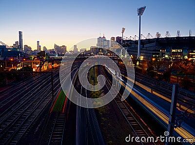 Trains at dusk