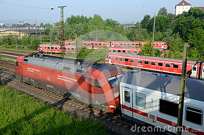 Trains Outside Ulm´s Terminal Editorial Stock Photo