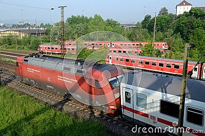 Trains Outside Ulm´s Terminal Editorial Stock Photo