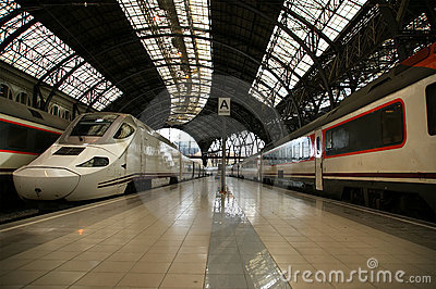 Trains at the railroad station in Barcelona
