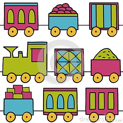 Trains seamless pattern