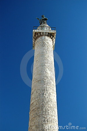 The Trajan Column at the roman forum in Rome