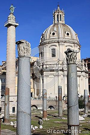 Trajan column and Ulpia Basilica