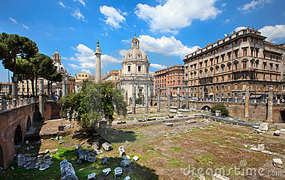 Trajan Forum (Foro Traiano) Editorial Stock Photo