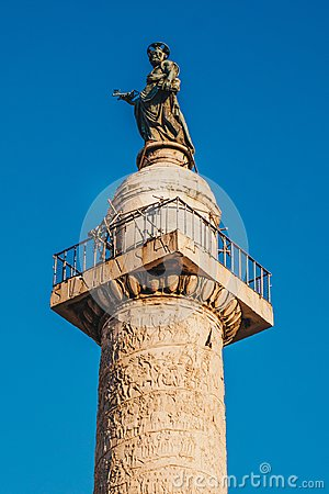 Free Trajan`s Column Colonna Traiana In Rome, Italy. Commemorates R Royalty Free Stock Photos - 110463908