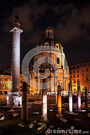 Free Trajan S Column Night Scene, Rome Royalty Free Stock Photos - 35187848