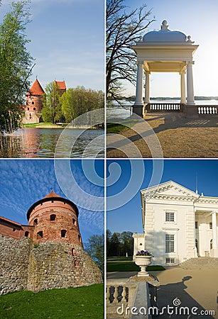 Trakai castle and uzutrakis manor in Lithuania