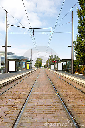 Free Tram Arriving Station Royalty Free Stock Photography - 12628347