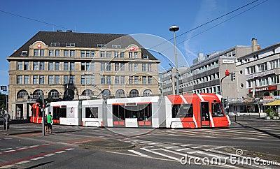 Tram Bombardier  in Krefeld Editorial Stock Image