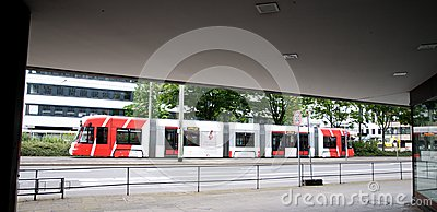 Tram Bombardier  in Krefeld Editorial Photo