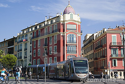Tram in city of Nice Editorial Stock Photo