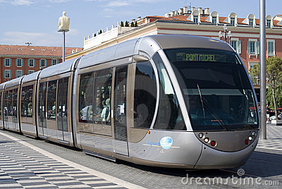 Tram in city of Nice Editorial Photography