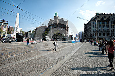 Tram at Dam Square Editorial Stock Image