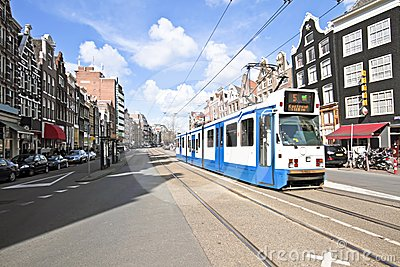 Tram driving in Amsterdam Netherlands