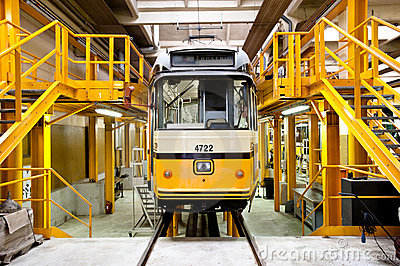 Tram in Milan s ATM depot Editorial Stock Photo