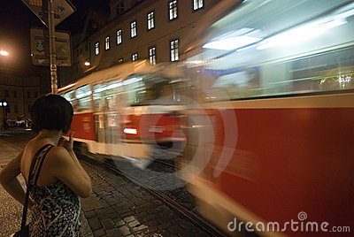 Tram on the night in the city