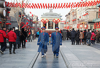 Tram on Qianmen Street, in Beijing Editorial Stock Image