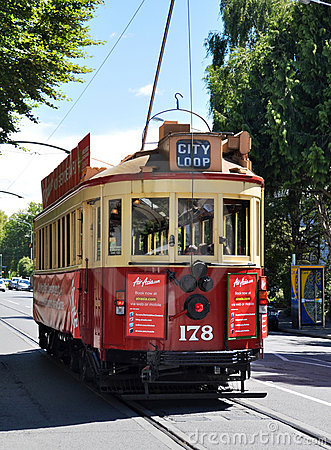 Tram on Rolleston Avenue Christchurch, New Zealand Editorial Image