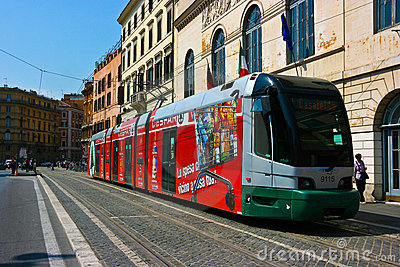 Tram in Rome Editorial Stock Photo