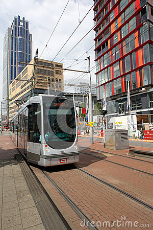 Tram in Rotterdam Editorial Photography