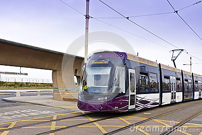 Tram at the sea side resort of Blackpool Editorial Stock Image