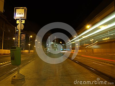 Tram station at night