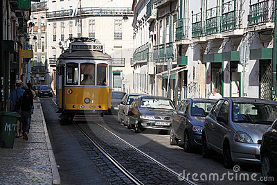 Tram in the street of Lisbon Editorial Stock Photo