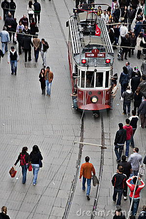 Tram and walking people, Istanbul