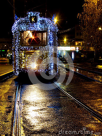Free Tram With Christmas Lights In Budapest Stock Images - 26213504