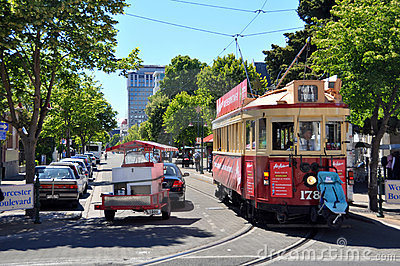 Tram on Worcester Street Christchurch, New Zealand Editorial Photography