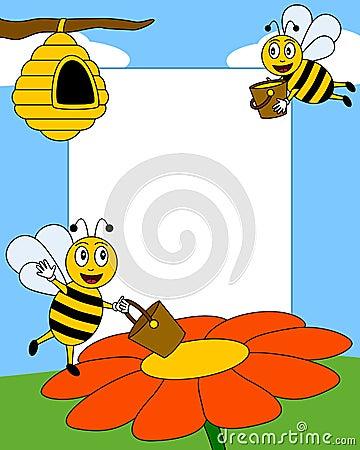 Trame de photo d abeilles de dessin animé [2]