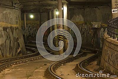 Tramline in the tunnel