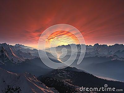 Tramonto innevato della valle della montagna