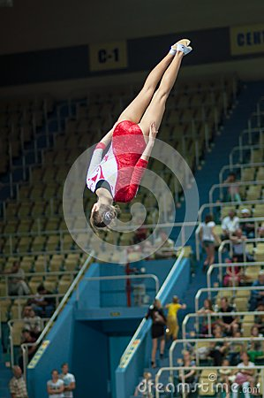 Trampolining Championship of women Editorial Photo