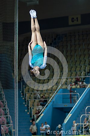 Trampolining Championship of women Editorial Stock Photo
