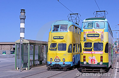Trams on Blackpool Seafront Editorial Image
