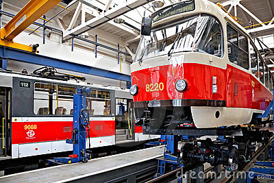 Trams in workshops in Depot Hostivar, Prague Editorial Stock Photo