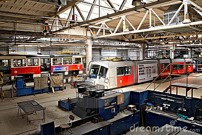 Trams in workshops in Depot Hostivar, Prague Editorial Image