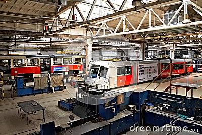 Trams in workshops in Depot Hostivar, Prague Editorial Image