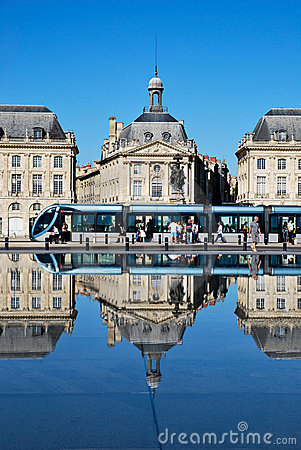 The tramway in Bordeaux Stock Photo