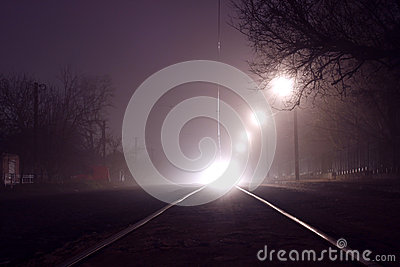 Tramway at night
